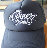 $15 – Embroidered 'Corner Hotel' trucker caps. Available in a range of colours.