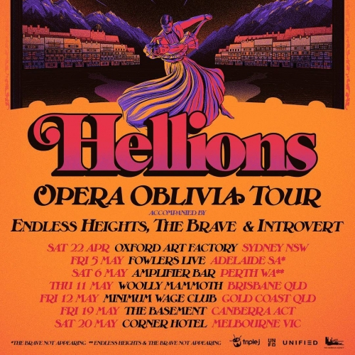 JUST ANNOUNCED: Sydney's Hellions have announced that they'll be hitting the Corner Hotel in support of their highly acclaimed latest album Opera Oblivia this May! Tickets on sale this Wednesday via cornerhotel.com  #hellions #livemusic #cornerhotel #melbournemusic #australianmusic