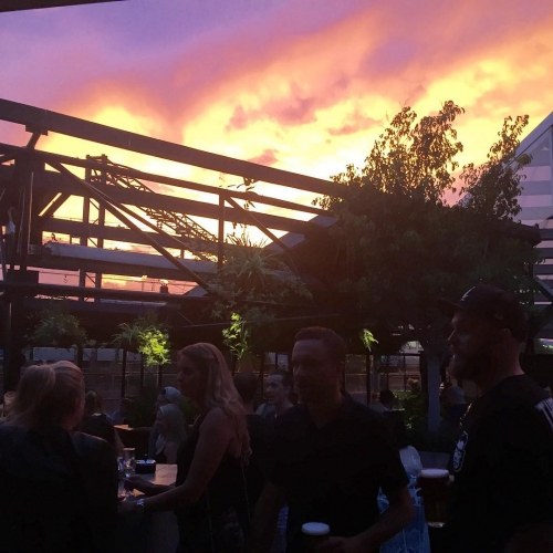 The sky is on fire for the long weekend Sunday session happening now in the Roooftop! #sundaysessions #cornerhotel #richmond3132 #sunset4days #sunset #melbourne