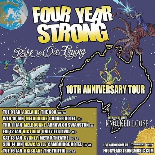 JUST ANNOUNCED: Pop punk legends Four Year Strong are returning to Aussie shores to celebrate their classic album 'Rise or Die Trying' this January! Sign up to our mailing list over at cornerhotel.com for exclusive presale access now!