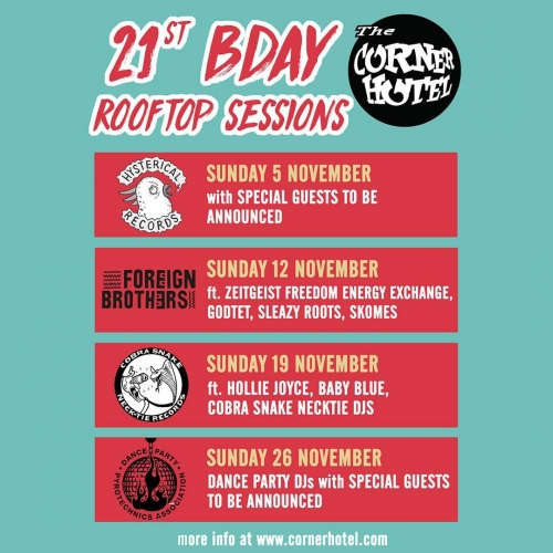 JUST ANNOUNCED: If you thought our birthday celebrations couldn't get any bigger.. think again.  Throughout the month of November a bunch of local legends will be taking over the rooftop bar for our Birthday Rooftop Sessions! Stay tuned for more info on events hosted by the likes of Hysterical Records, Foreign Brothers, Cobra Snake Necktie Records and Dance Party Pyrotechnics Association DJs. This is gonna be big. 👊