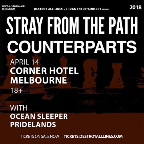 A night of noise is upon us TOMORROW with @strayfromthepath and @counterpartsband! Tix here 👉🏻 https://bit.ly/2qkEDNV #cornerhotel #livemusic #melbournebars