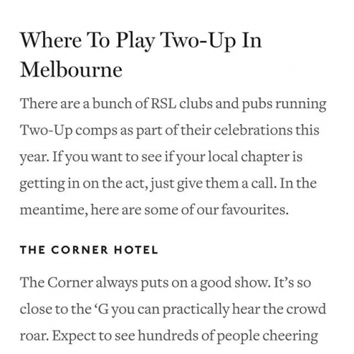 We're @urbanlistmelb's top pick for Two-Up this ANZAC Day! Don't miss out and get down from midday this Wednesday.