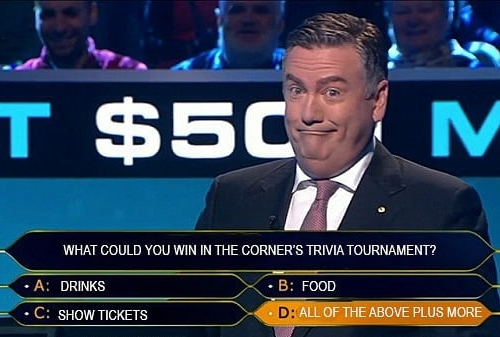 Nah Eddie, we're not kidding. Our rooftop trivia, ten week long tournament starts TOMORROW! You better believe there are some hot prizes going, best be 'locking in' your table ASAP ➡️ ☎️ 9427 7300