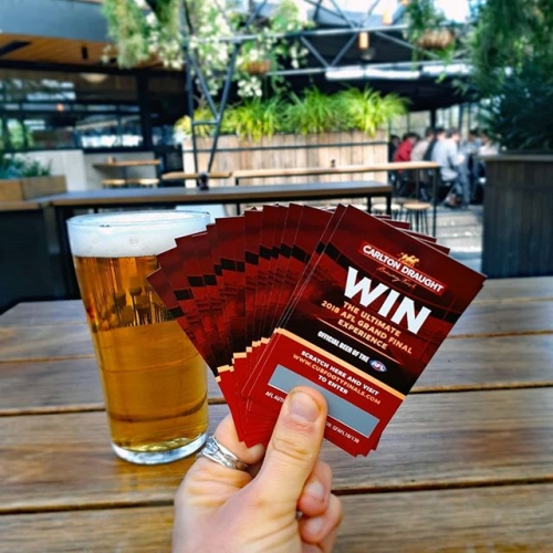 Our mates at Carlton Draught are giving you the chance to win Grand Final tix! All you gotta do is buy a pint, easy peasy lemon squeezy.
