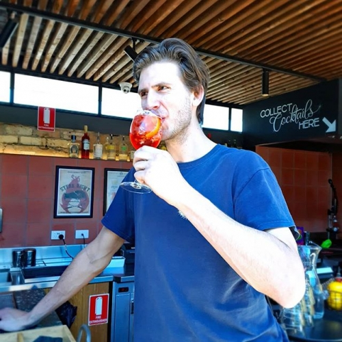 Sun's out, spritz time! Here we have a tasty Campari number modelled by the one and only Tom. Coming at you for $15 on Sundays throughout summer. 🌞