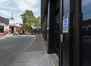 Accessible door, view facing Swan st