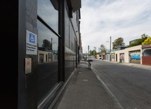Accessible door, view facing accessible carpark