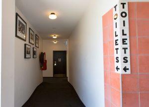 Hallway to toilets