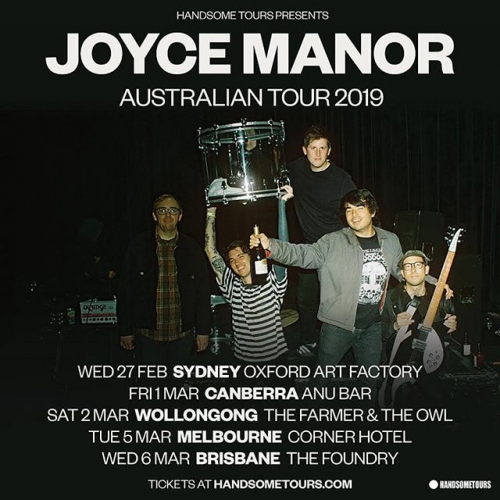 JUST ANNOUNCED: Californian indie band @joycemanorofficial are on their way down under in March! If you saw them support The Smith Street Band back in 2017 you'll know that we're in for a ride. Tix on sale now via cornerhotel.com.