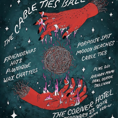 So many amazing artists joining us on Sat for this year's @cable.ties ball! Ft NZ's @waxchattels @porpoisespitband @moody_beaches @officialpunique and more!⚡