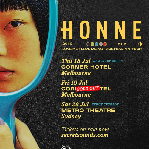 Honne fans rejoice! Second show just announced following the sell out of their first @splendourinthegrass sideshow. Don't snooze, tix selling fast via cornerhotel.com.
