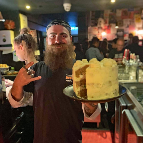 Holy shit! One of the locals Jaimie made our man Joel a meatloaf and mashed potato cake for his 30th.. what a goddamn legend.  Happy birthday Joel! Cut us a slice and pass the gravy why dontcha.
