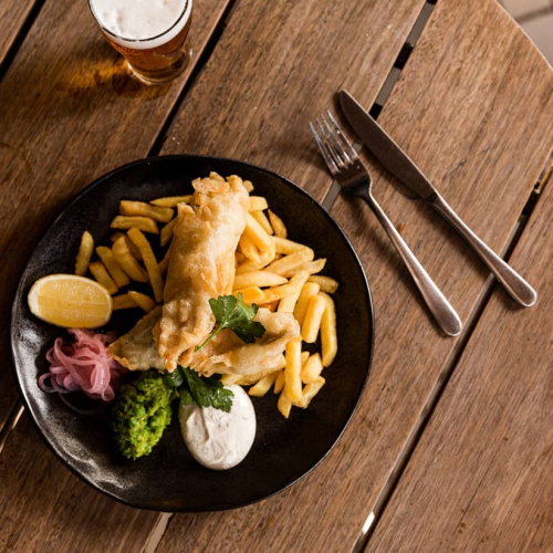 A long weekend means an even longer recovery. Our fish'n'chips with mushy peas and dill aioli should help. 