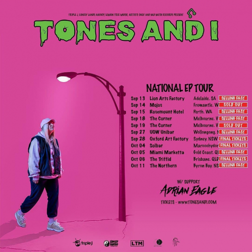  WOAH  Second @tonesandi show just announced due to popular demand! The first sold out in a flash, don't miss this one.  Tix selling fast via cornerhotel.com.