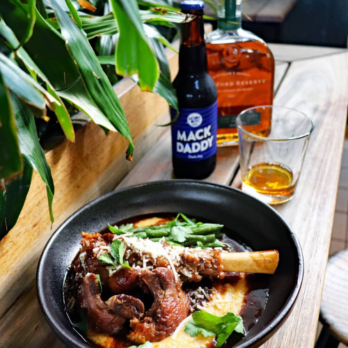 Holy mother of lamb shanks.   @moondogbrewing Mack Daddy braised shank on the pass for the whiskey-fuelled month that is Rye July! Woodford Reserve boilermaker specials should just about help you wash it all down too. Keen?