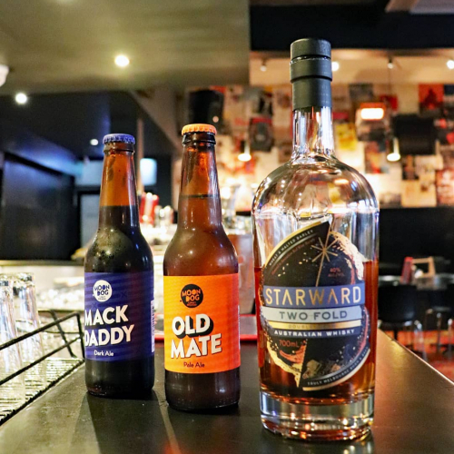 FRONT BAR BOILERMAKERS 🍻  Slinging shots of @starwardwhisky Two Fold alongside your choice of @moondogbrewing's Mack Daddy or Old Mate downstairs for the ultimate fire-in-your-belly, night starting burner. Get it right now.