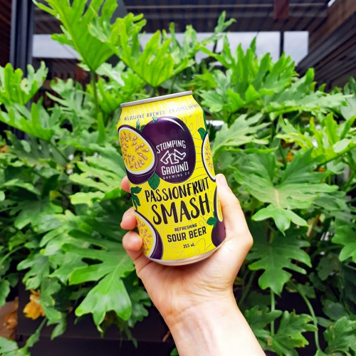 After a fruity bev that packs a hell of a punch? @stompinggroundbeer Passionfruit Smash is packed with real fruit with a tasty tart finish. 👌  Available right now throughout the venue.