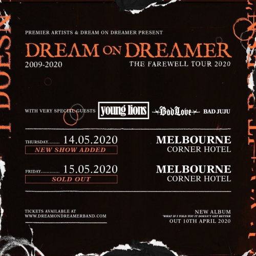 Due to popular demand @dreamondreamerband have just announced a second farewell show! Come and celebrate their incredible career and see them one final time.  Tickets → cornerhotel.com.