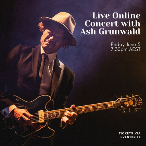 Aussie blues legend @ashgrunwald is doing something pretty sweet next Friday! Performing live to your living room and raising money whilst he's at it, simply purchase a ticket via the link below and a portion of the proceeds will make their way to support the live music sector. 🙌 https://bit.ly/2yN9qdO